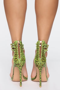 Wild About You Heeled Sandals - Neon Green