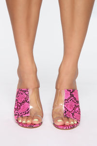 Reality Check Heeled Sandals - Neon Pink Snake