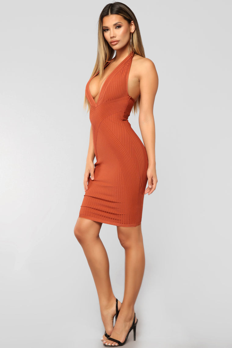 The Next Best Bandage Dress - Rust