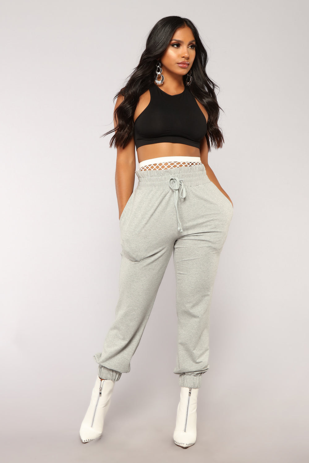 Out From Under Fishnet Joggers - Grey
