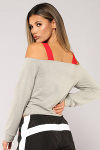 Fast Life Cold Shoulder Top - Grey