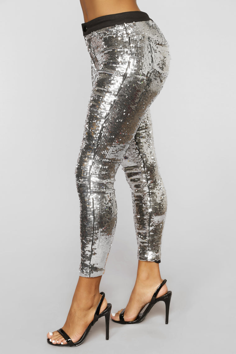 In The Spotlight Sequin Pants - Silver