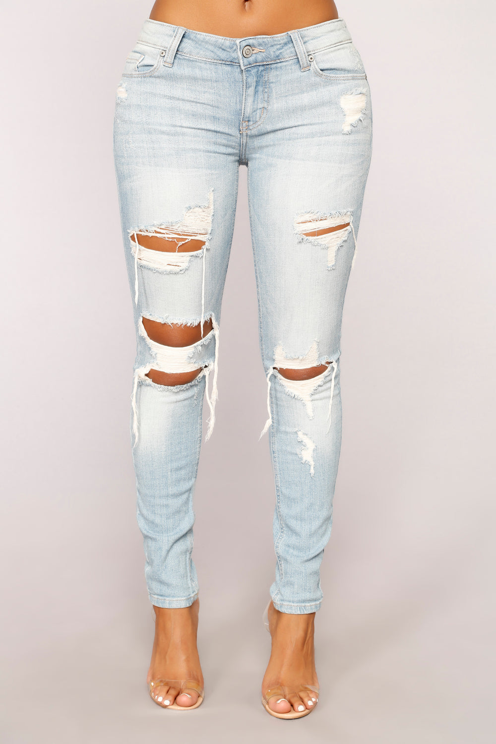 Michelle Distressed Skinny Jeans - Light Blue Wash