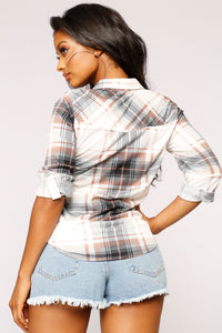 Lounge Lover III Plaid Top - Navy/Combo