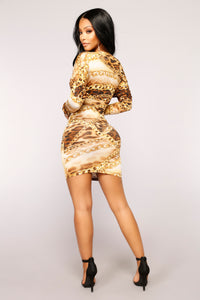 Ball And Chain MIni Dress - Brown