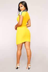 Dare To Try Colorblock Dress - Mustard