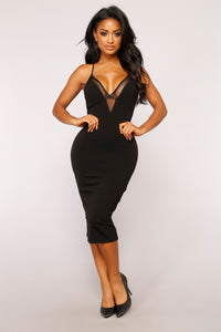 Miss Mesh Midi Dress - Black
