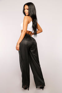 Snap To It Snap Button Pants - Black
