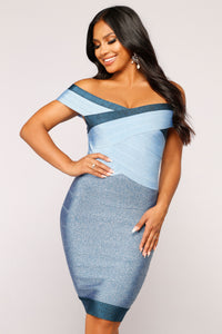 50 Shades of Blue Bandage Dress - Blue