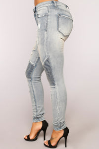 Envy You Skinny Moto Jeans - Vintage Blue Wash