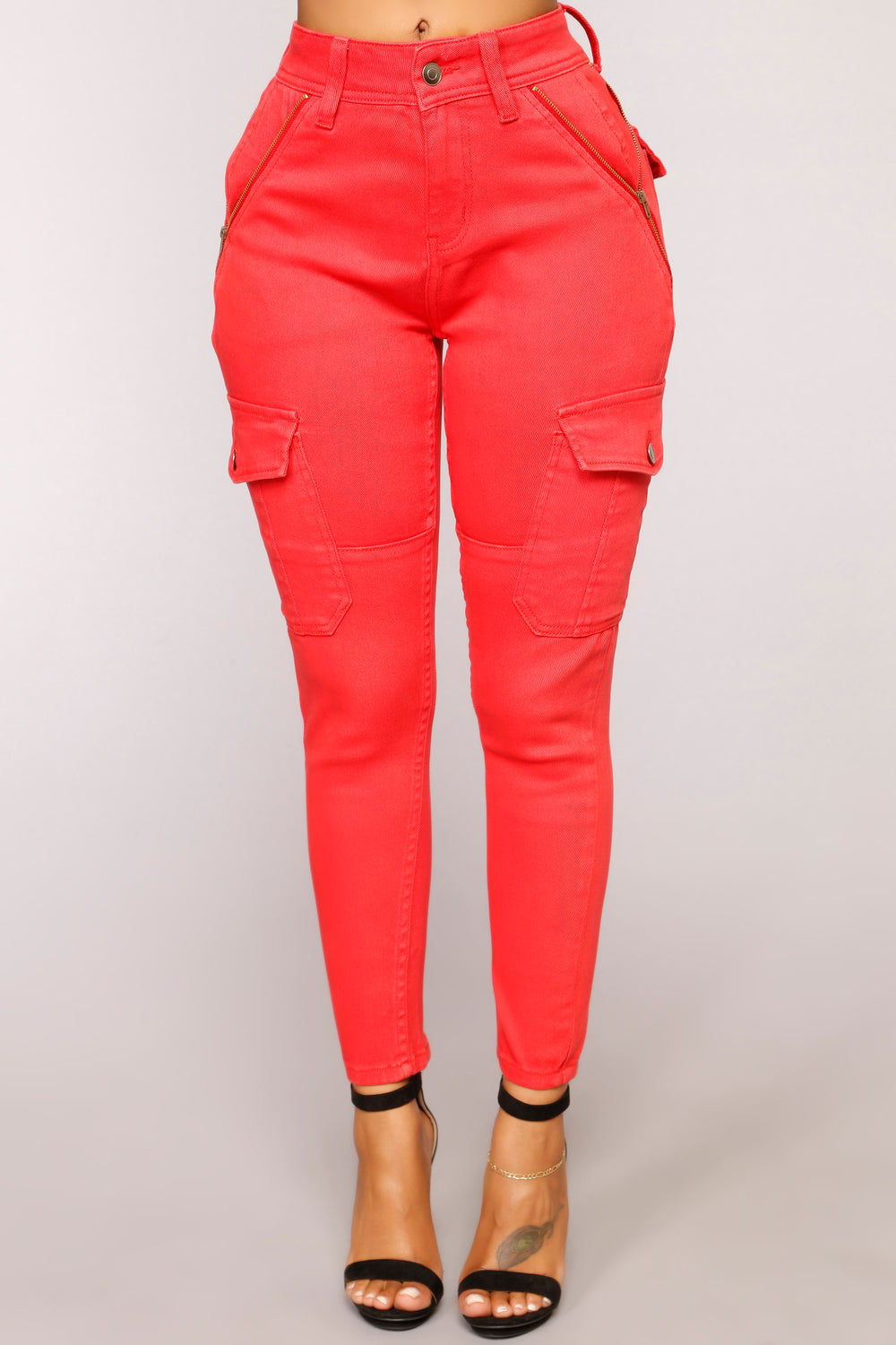 You Give Me Fever Cargo Jeans - Red