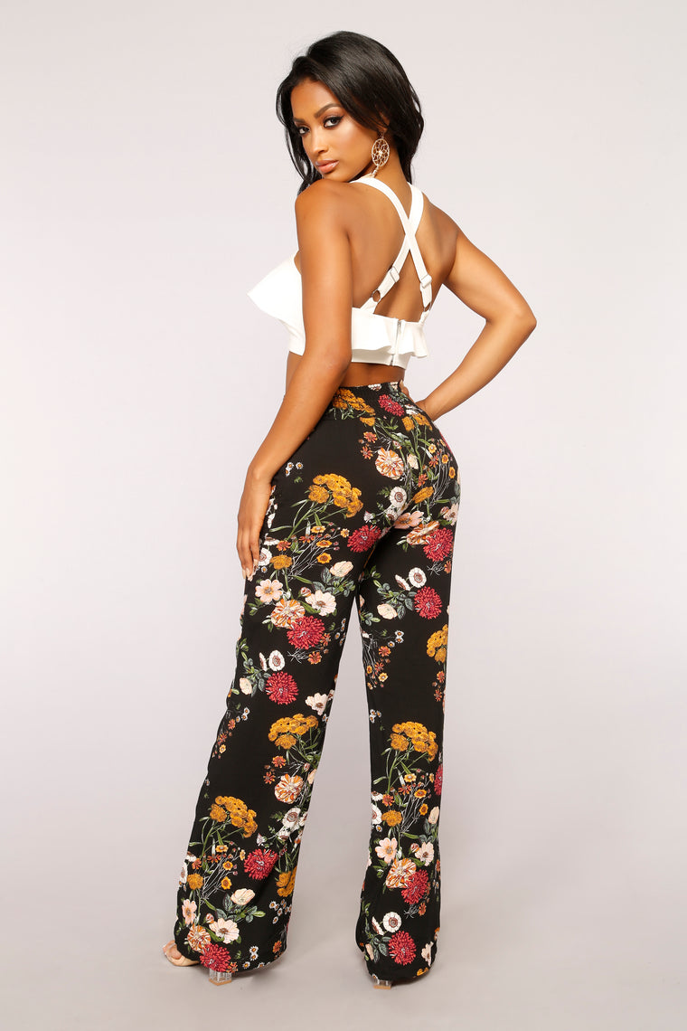 Everyday Floral Print Pants - Black Multi