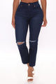 Winner Takes All Cropped Straight Leg Jeans - Dark Wash
