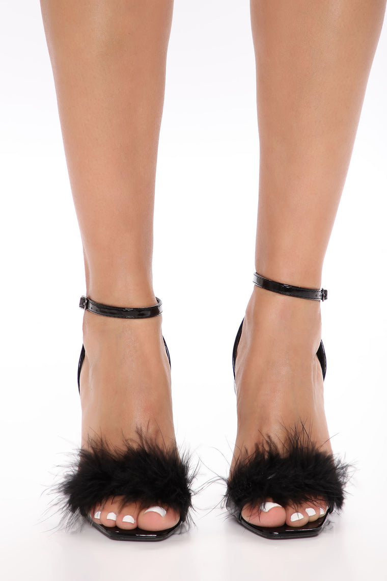 Fine In Feathers Heeled Sandals - Black