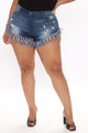 Crazy Little Fringe Distressed Denim Shorts - Medium Blue Wash