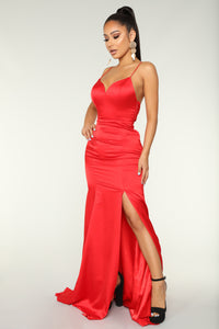 Light Of The Moon Satin Dress - Red