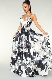 Opening Night Floral Dress - Black Floral