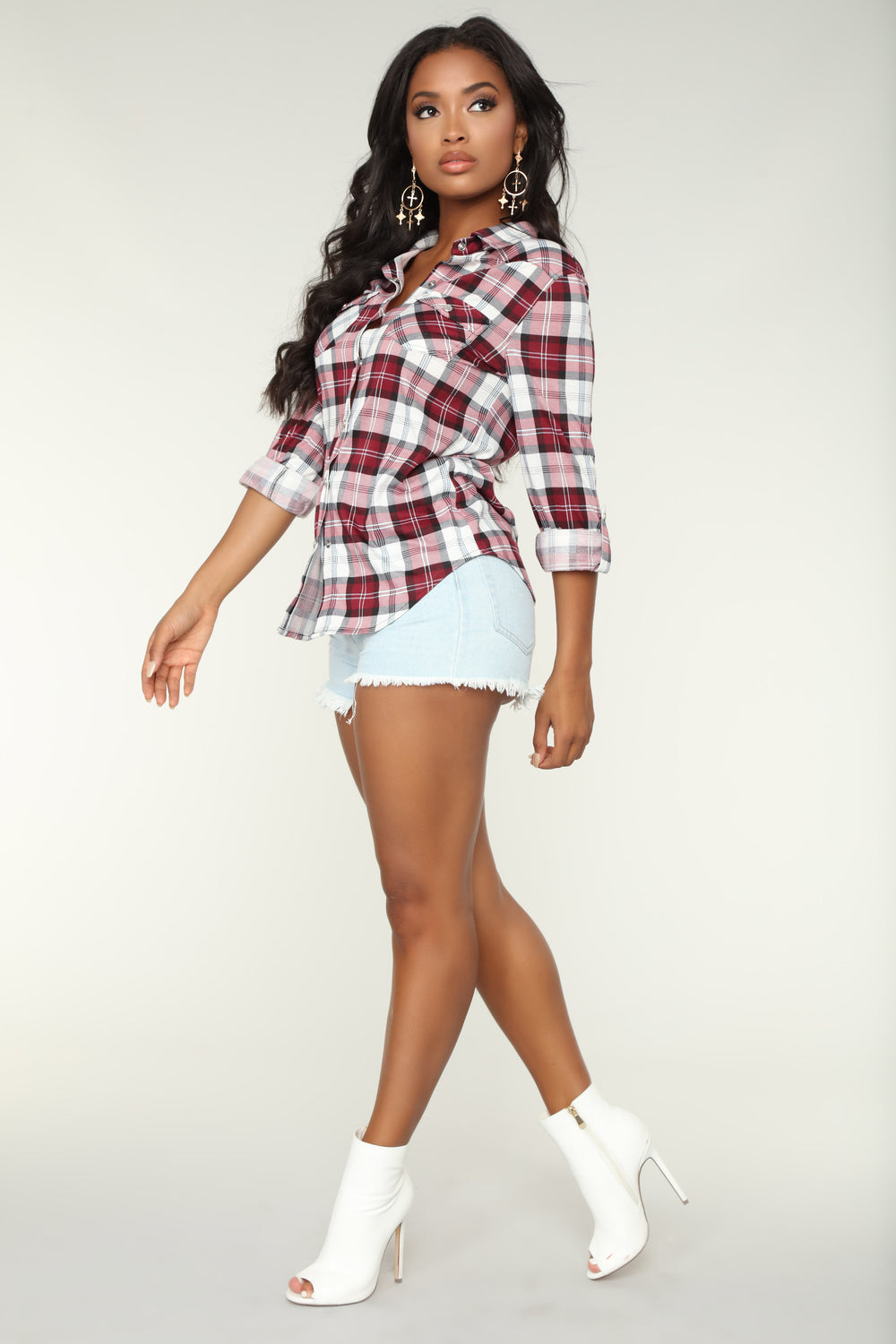 Lounge Lover Burgundy Plaid Top - Burgundy/Combo