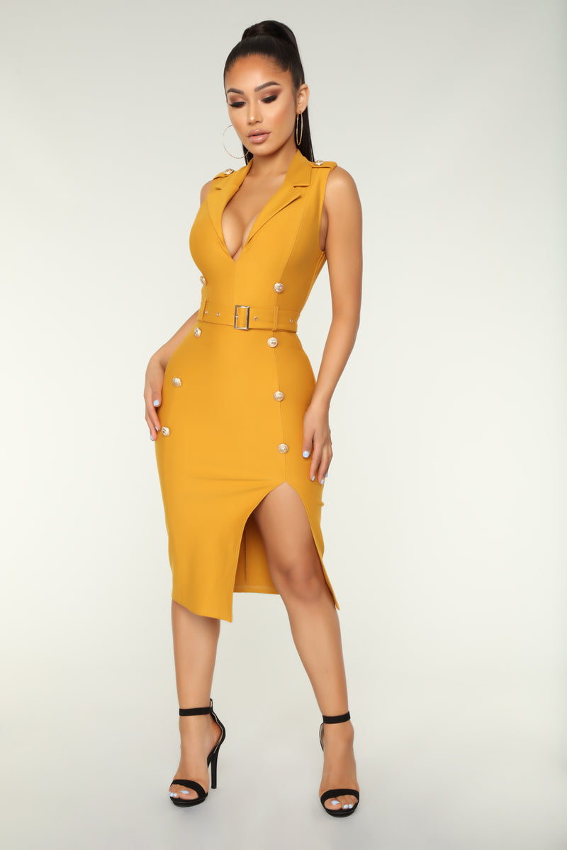 Always On Time Midi Dress - Mustard