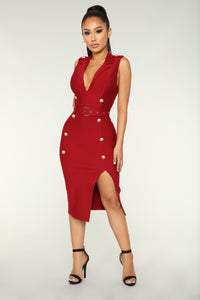 Always On Time Midi Dress - Wine