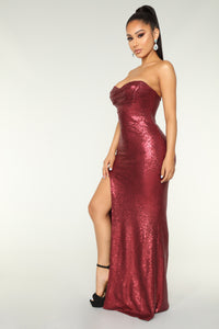 Midnight Kiss Sequin Dress - Wine