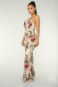 Waltz Of The Flowers Floral Dress - Nude