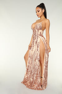 Fame Excess Sequin Dress - Rosegold