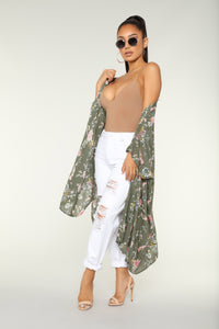 See You Again Floral Kimono - Olive/combo