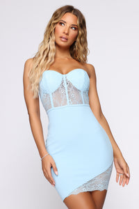 She's Unforgettable Mini Dress - Light Blue Angle 1