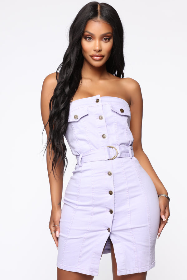 3803f6f4b0 Tessie Denim Mini Dress - Lavender