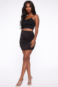 Knot Enough Ruched Mini Skirt - Black