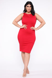Melinda Body Sculpting Midi Dress - Red Angle 5