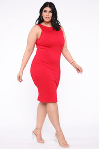Melinda Body Sculpting Midi Dress - Red Angle 8