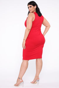 Melinda Body Sculpting Midi Dress - Red Angle 6
