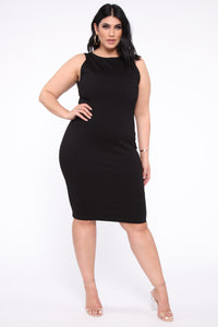 Melinda Body Sculpting Midi Dress - Black Angle 6