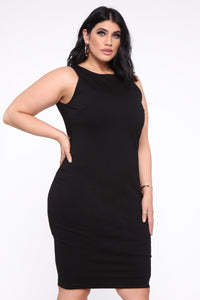Melinda Body Sculpting Midi Dress - Black Angle 5