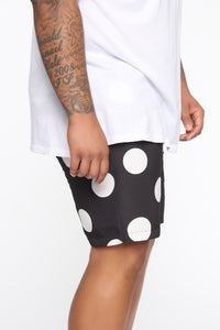 Polka Dot Boardshorts - Black/White