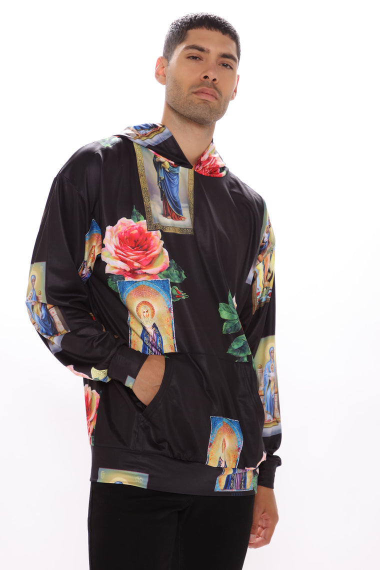 Holy Floral Hoodie - Black/combo
