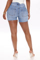 Isabella Mid Rise Denim Shorts - Medium Blue Wash