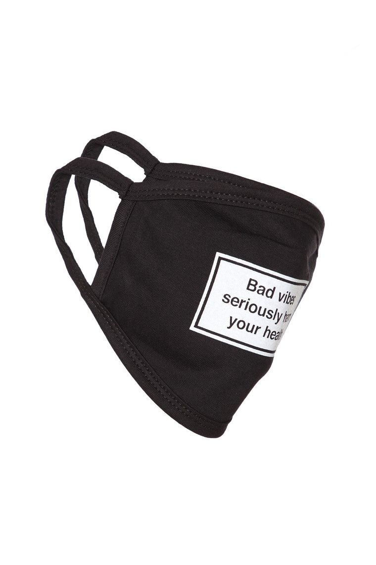 Bad Vibes Face Mask - Black/White