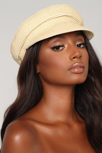 Stephanie Straw Cabbie Hat - Beige
