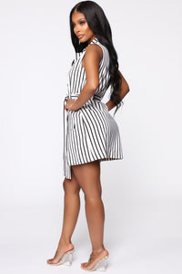 Boss Babe Blazer Dress - White/Black