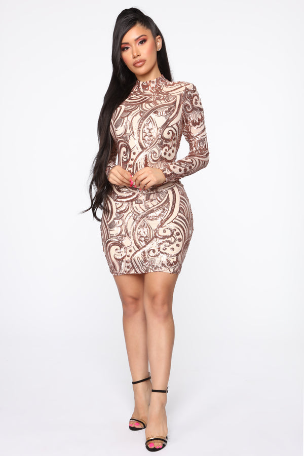 64ca59858201 Wildest Dreams Sequin Dress - Rose Gold