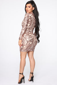 Wildest Dreams Sequin Dress - Rose Gold