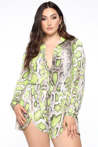 Professional Party Animal Snake Romper - Taupe/Neon Yellow Angle 5