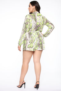 Professional Party Animal Snake Romper - Taupe/Neon Yellow Angle 8
