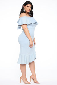 Taking My Time Denim Flounce Dress - LightBlueWash