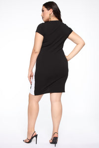 Wrap Me Up Mini Dress - Black/White