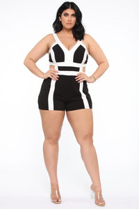 Got A Feeling Colorblock Romper - Black/White
