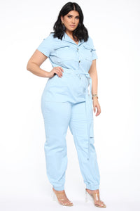 Rush Of Energy Denim Jumpsuit - Light Blue